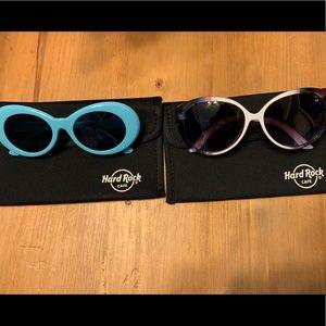 2 pair sunglasses+Hard Rock cases